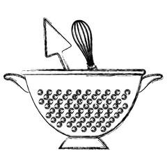 kitchen colander with cutleries