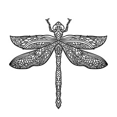 Bllack and white dragonfly in mandala style. Stylized insect. Boho vector illustration. Ethnic pattern.