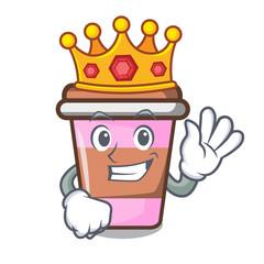 King coffee cup mascot cartoon