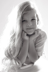 Child black and white photo