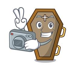 Photographer coffin mascot cartoon style