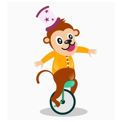 funny cheerful circus monkey ride one weel bicycle mascot cartoon character