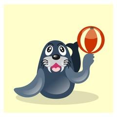 cute funny sea lion seal playing ball mascot cartoon character