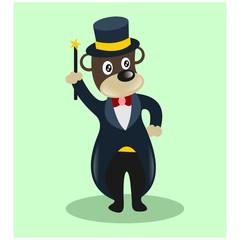funny cute magician bear mascot cartoon character