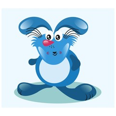 cute fat chubby blue bunny rabbit mascot cartoon character