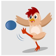 cute little chicken playing soccer mascot cartoon character