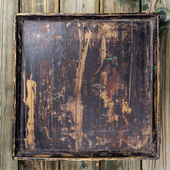 Vintage tray on wooden background