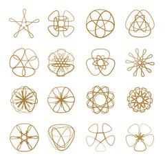 Set of vector spirograph design elements.