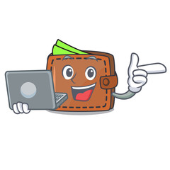 With laptop wallet character cartoon style