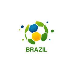 Abstract Brazil Football Logo designs vector, Soccer championship banner vector