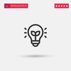 Outline Light Icon isolated on grey background. Modern simple flat symbol for web site design, logo, app, UI. Editable stroke. Vector illustration. Eps10