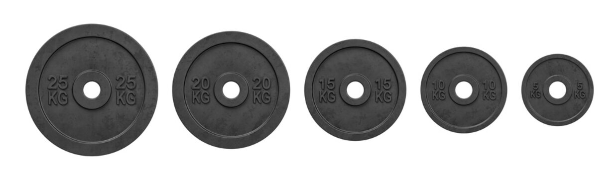 3d rendering of five black barbell weights of different mass hanging in one line on a white background.