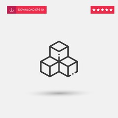 Outline Cubes Icon isolated on grey background. Modern simple flat symbol for web site design, logo, app, UI. Editable stroke. Vector illustration. Eps10