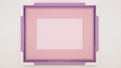 Empty pink violet frame - Artwork for decration  - Cute decoration frame for artwork design - Autumn artwork - 3D Rendering