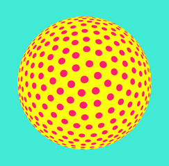 colorful dotted sphere illustration in red yellow blue