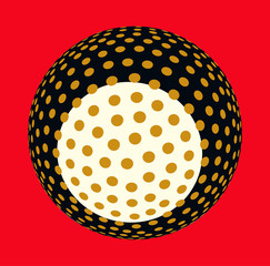 asian style dotted sphere illustration in gold black red