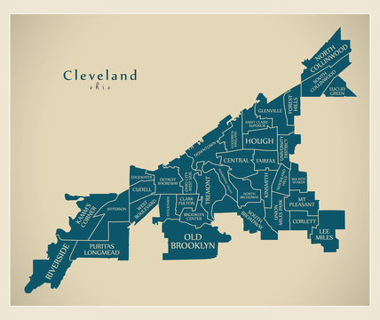 Modern City Map - Cleveland Ohio city of the USA with neighborhoods and titles