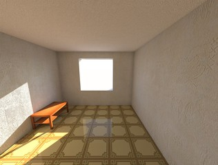 3d render designe apartments room with wallpaper and linoleum, and wooden table