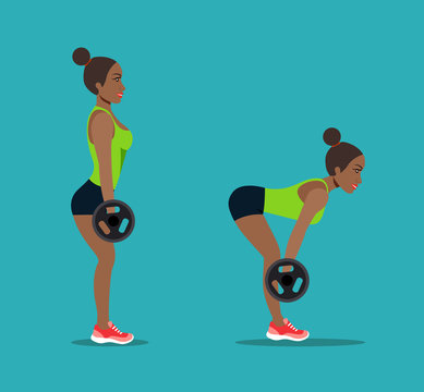 Afro american young woman doing deadlift exercise. Vector flat style isolated illustration