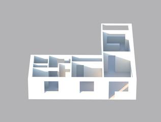 3d render designe apartments in perspective view, construction plane