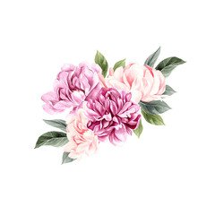 A beautiful watercolor bouquet  with peony.