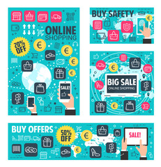 Online shopping banner for web store sale offer
