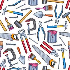Repair work tool seamless pattern background