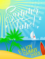 Summer Holiday banner for vacation and sea travel