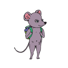 Gray mouse with green school bag on shoulders, hand drawn doodle, sketch, vector color illustration
