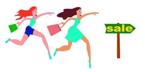 Vector illustration of a sale girl running