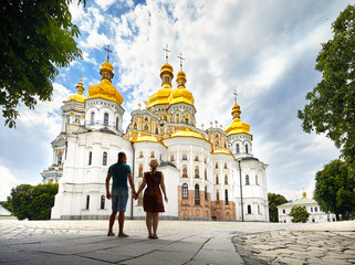 Tourist couple in Kiev Pechersk Lavra