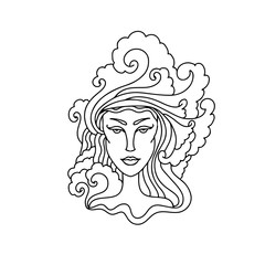 Aquarius girl portrait. Zodiac sign for adult coloring book. Simple black and white vector illustration.