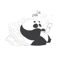 Cute baby little boring cute panda watch something on notebook in cartoon style. Vector hand drawn illustration.