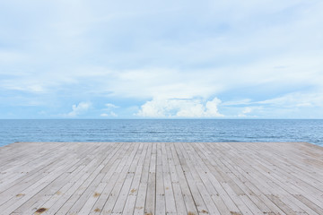 Poster Ocean empty wood deck pier with sea ocean view background calm and tranquil
