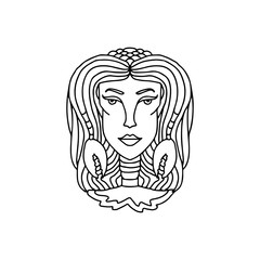 Cancer girl portrait. Zodiac sign for adult coloring book. Simple black and white vector illustration.