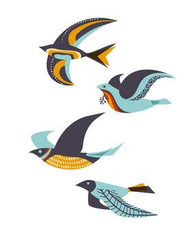 Flying birds, mid-century modern style, eps10 vector