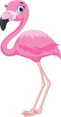 Cartoon pink flamingo bird