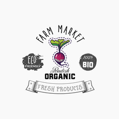 Bio sticker and eco products. Radish web element, Isolated Vector.