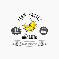 Bio sticker and eco products. Banana web element, Isolated Vector.