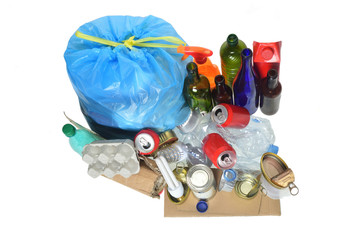 garbage consisting of cans, plastic bottles, glass bottle, carton, tetrabrik, cans and bulb