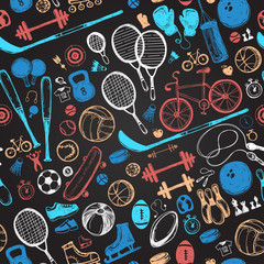 Sport sketch pattern. Hand drawn