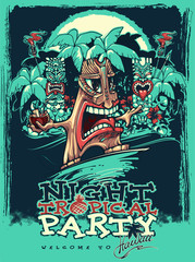 Banner for Tiki party. Tropical party. Vector illustration