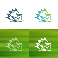Abstract flower logo. Foliate decorative element.