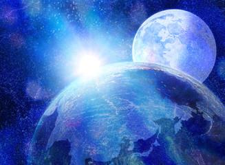 幻想的な月と太陽の宇宙イメージ-地球の夜明け