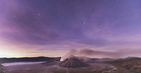 Smoking Volcano Gunung Bromo, Mt. Batok at front, Mt. Kursi at back, Mt. Gunung Semeru, morning atmosphere, dusk, Bromo Tengger Semeru National Park, Java, Indonesia, Asia