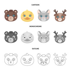 Bear, duck, mouse, deer. Animal muzzle set collection icons in cartoon,outline,monochrome style vector symbol stock illustration web.