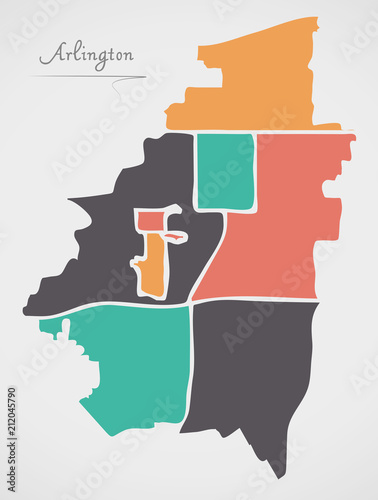 Arlington Texas Map with neighborhoods and modern round shapes ... on