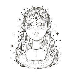 Beautiful young teenage girl, face foreground. Vintage sketch style of drawing. Sketch for tattoo, isolated print on t-shirt. Magical, mystical, ethnic style.