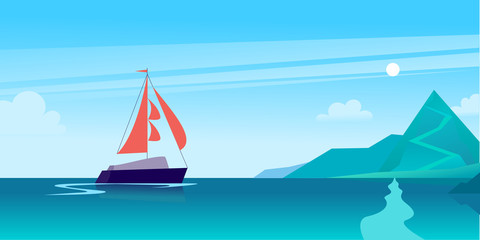 Vector flat summer landscape illustration with ship sailing across the ocean towards coast with mountains on blue clouded sky. Perfect for sea tours & travel poster, placard, flayer, leaflet, banners.