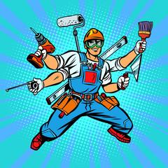 Many hand Builder repairman worker